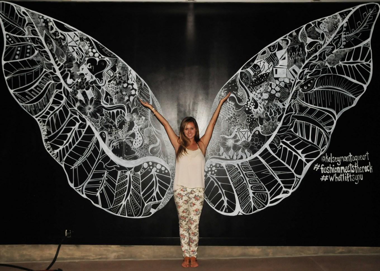 Kelsey Montague Art wings flower pants