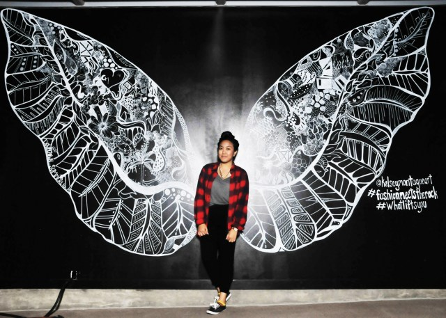 Kelsey Montague Art wings red plaid shrt