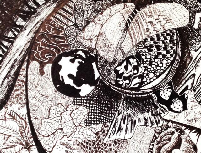 Pen & Ink globe by Kelsey Montague Art