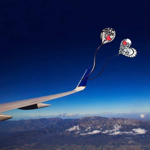Balloons on Airplane Wing