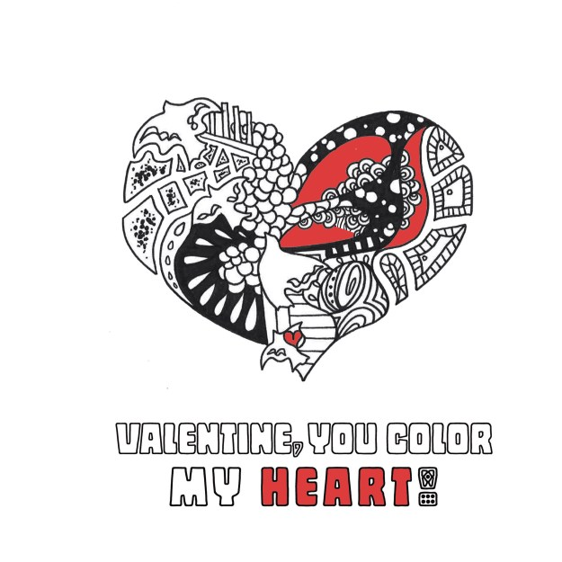 Colorable Heart by Kelsey Montague Art