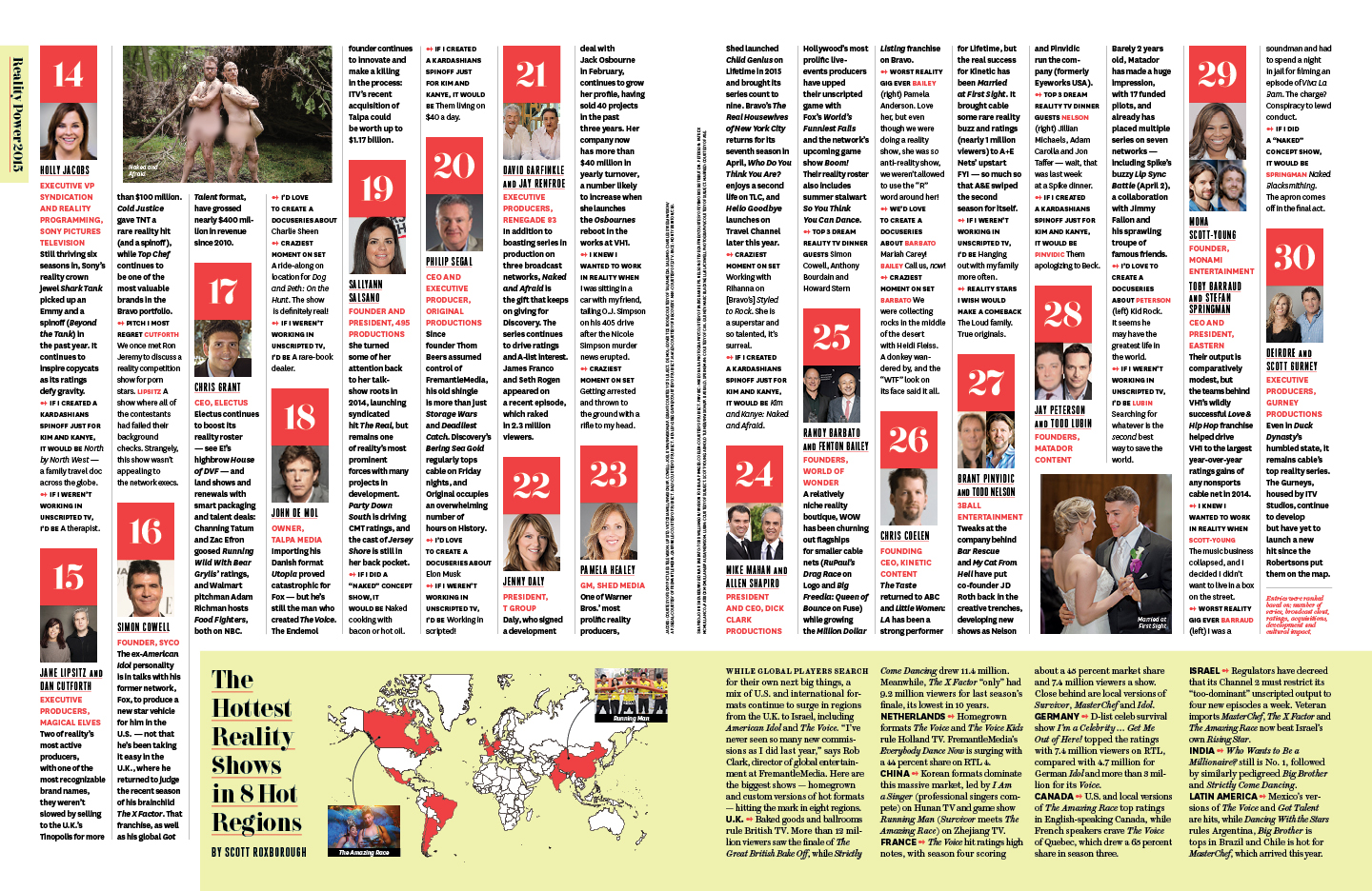 Reality TV's 30 Most Powerful / The Hollywood Reporter / 4.10.15 / kelsey stefanson / art direction + graphic design / yeskelsey.com