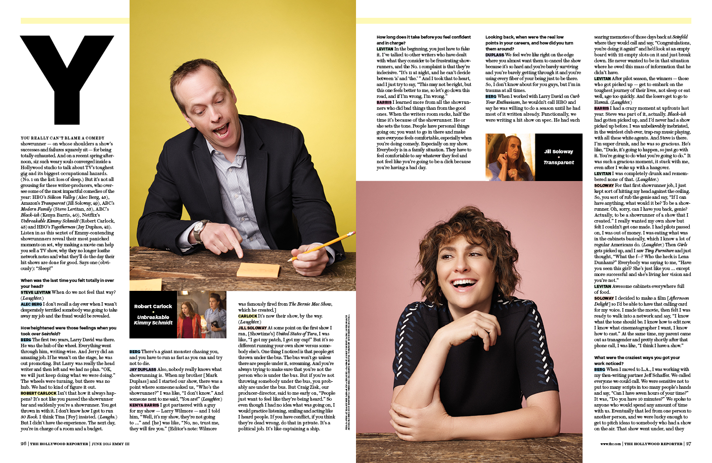 Comedy Writer Roundtable / The Hollywood Reporter / 6.2015 / kelsey stefanson / art direction + graphic design / yeskelsey.com
