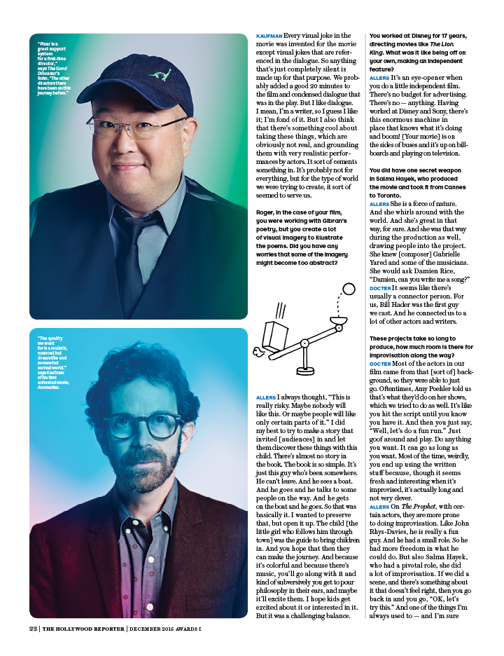 The Animation Roundtable / The Hollywood Reporter / 12.15.15 / kelsey stefanson / art direction + graphic design / yeskelsey.com