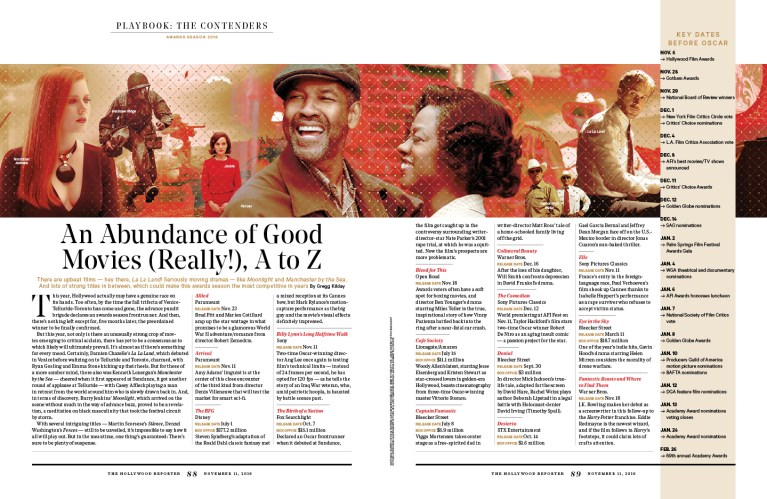An Abundance of Good Movies / The Hollywood Reporter / 11.11.16 / kelsey stefanson / art direction + graphic design / yeskelsey.com