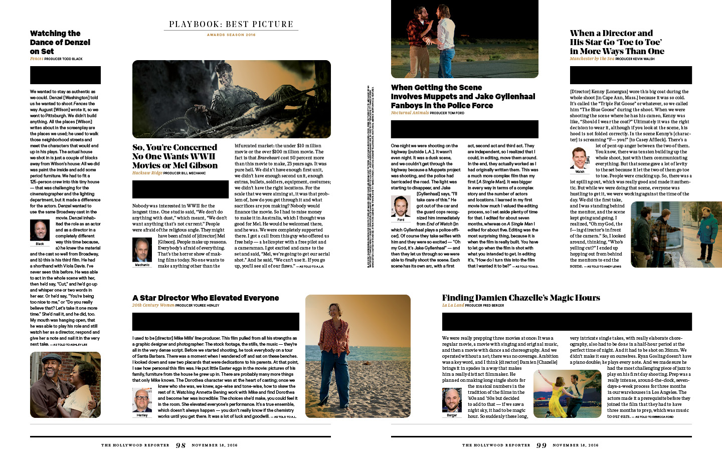 Snapshots of Movie Making / The Hollywood Reporter / 11.18.16 / kelsey stefanson / art direction + graphic design / yeskelsey.com
