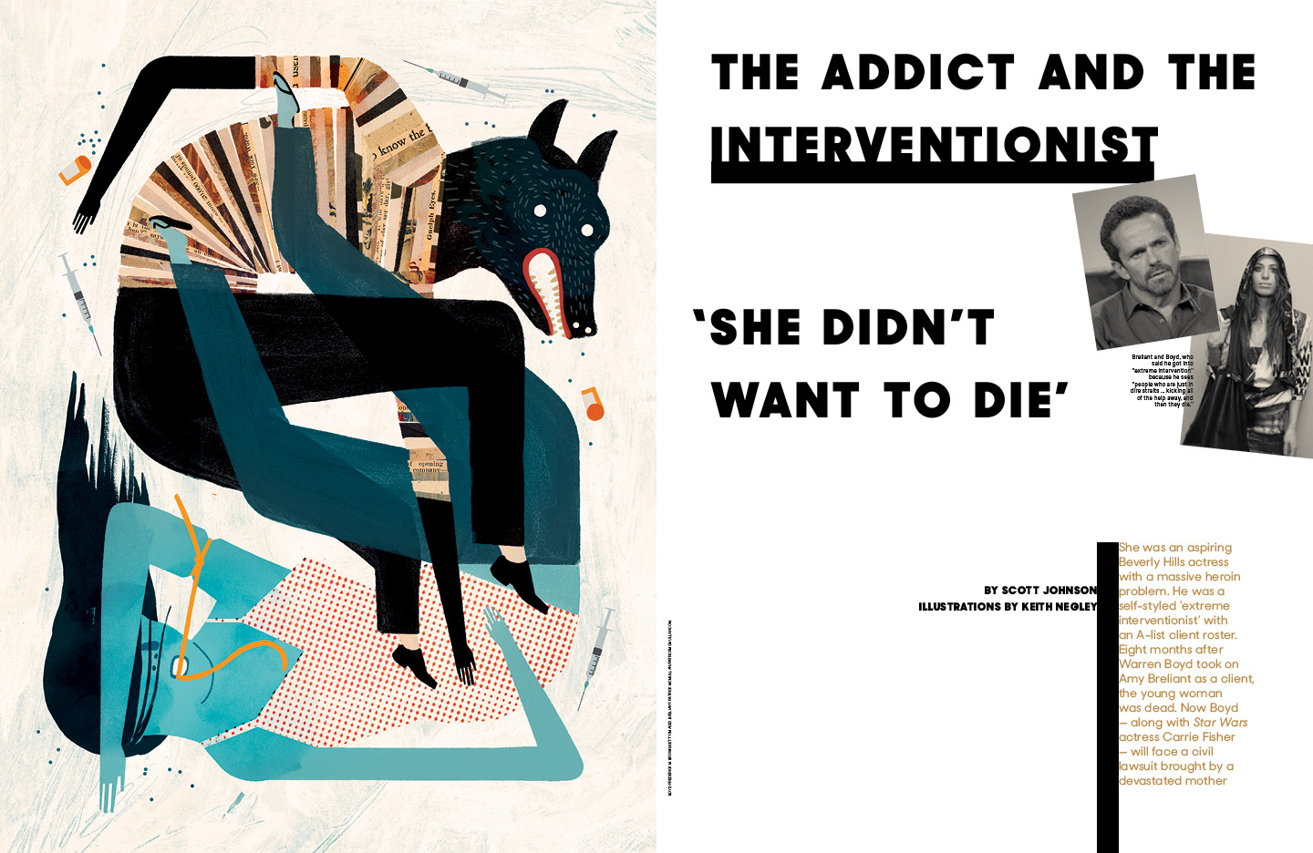 The Addict and the Interventionist / The Hollywood Reporter / 12.16.16 / kelsey stefanson / art direction + graphic design / yeskelsey.com