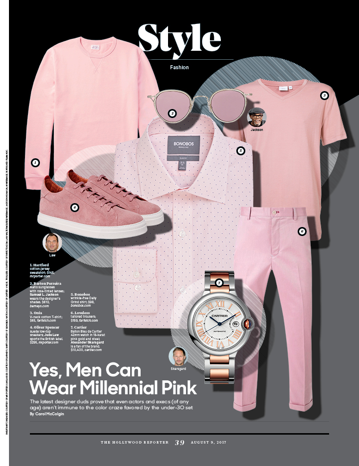 Yes, Men Can Wear Millennial Pink / The Hollywood Reporter / 8.9.17 / kelsey stefanson / art direction + graphic design / yeskelsey.com