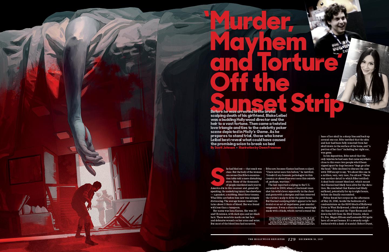 Murder, Mayhem and Torture Off the Sunset Strip / The Hollywood Reporter / 12.18.17 / kelsey stefanson / art direction + graphic design / yeskelsey.com