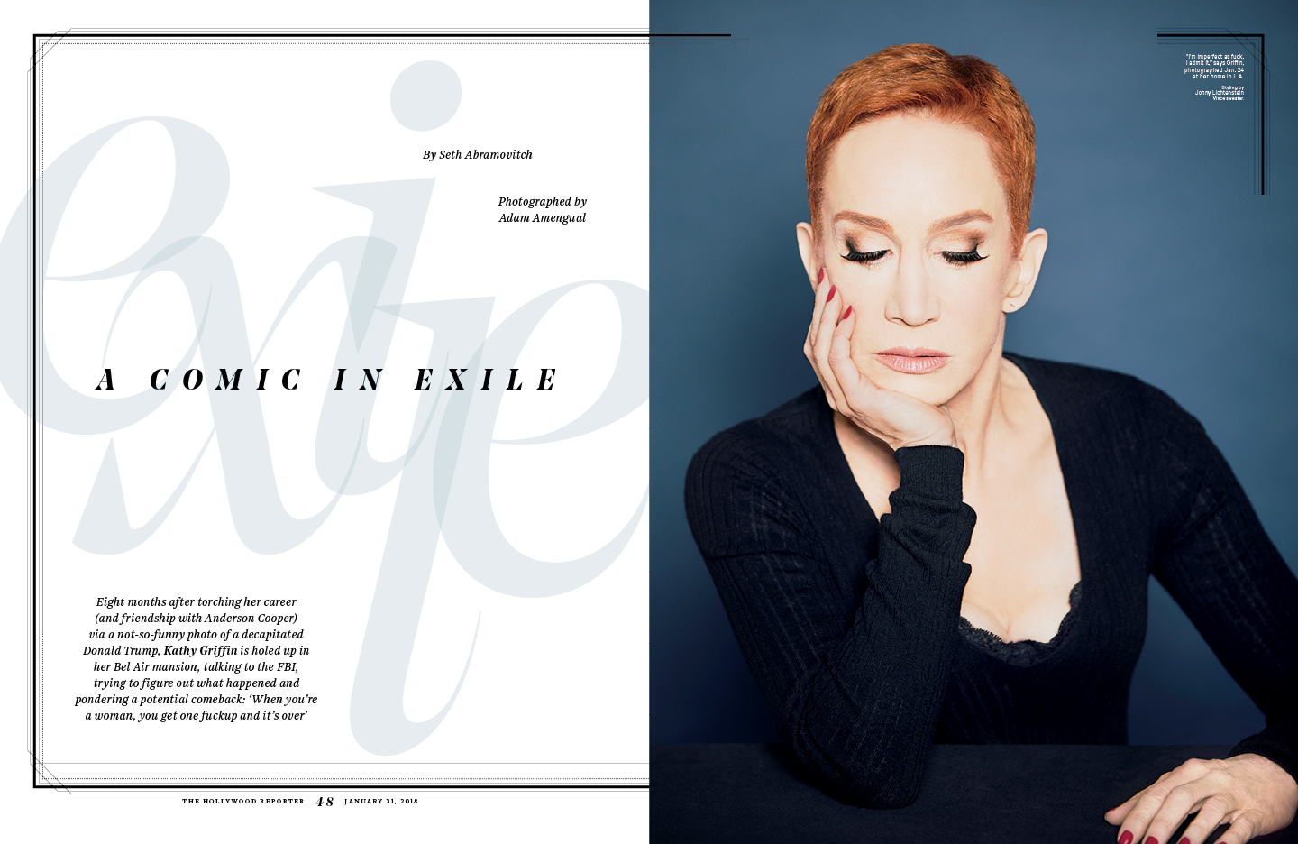 A Comedian in Exile / The Hollywood Reporter / 1.31.18 / kelsey stefanson / art direction + graphic design / yeskelsey.com