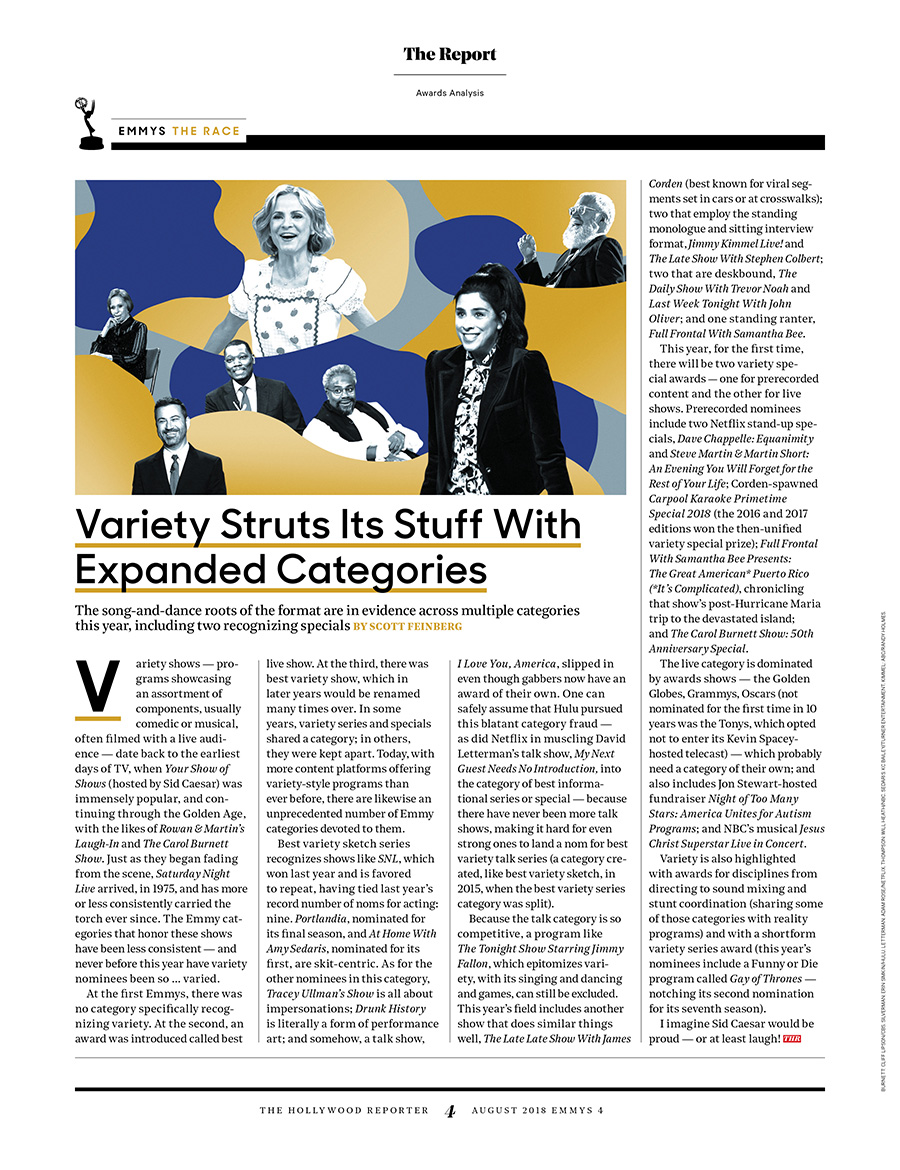 Variety TV Nominees / The Hollywood Reporter / August 2018 / kelsey stefanson / art direction + graphic design / yeskelsey.com