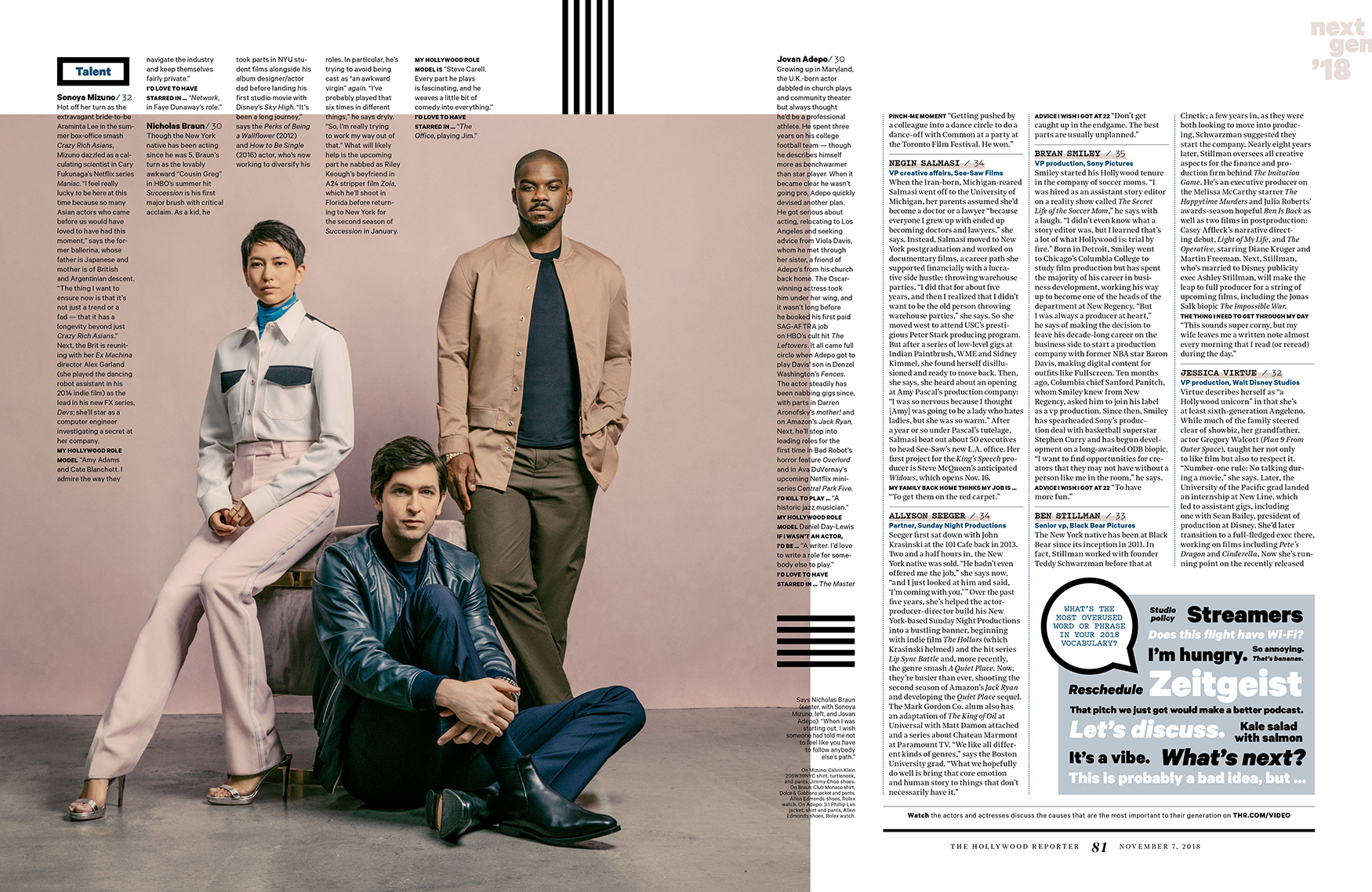 Next Gen 2018 / The Hollywood Reporter / 11.7.18 / kelsey stefanson / art direction + graphic design / yeskelsey.com