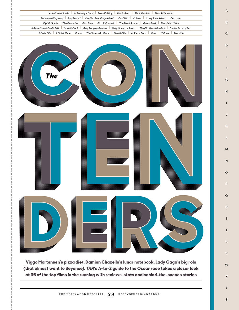 The Contenders (2019) / The Hollywood Reporter / December 2018 / kelsey stefanson / art direction + graphic design / yeskelsey.com