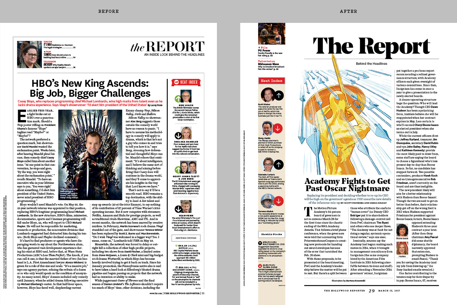 Redesign of The Hollywood Reporter (2016) / kelsey stefanson / art direction + graphic design / yeskelsey.com