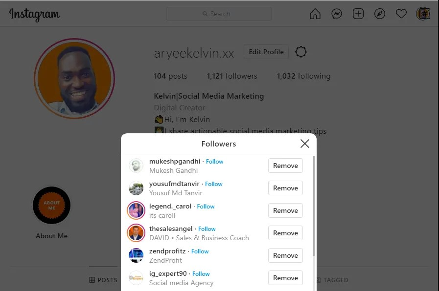 remove followers on instagram browser