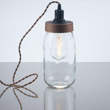 kelvin et lumen luminaires lampe à poser bocal verre douille interrupteur cordon torsadé ampoule LED Edison cuisine séjour salle à manger chambre lampe de chevet entrée