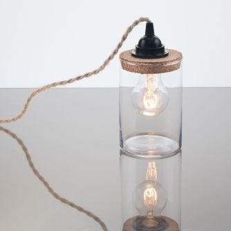 kelvin et lumen luminaires lampes à poser verre liège jute douille bakélite cordon torsadé ampoule LED chambre lampe de chevet cuisine salon séjour entrée véranda