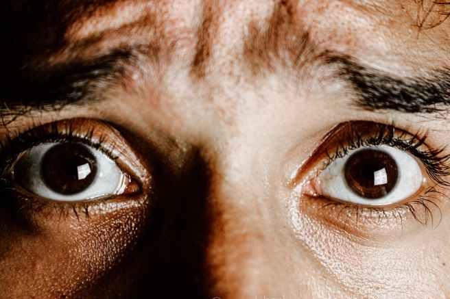 extreme close up photo of frightened eyes