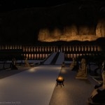 "illumination of the Hatshepsut temple at night for the ""Day of Creation feast 2018"""