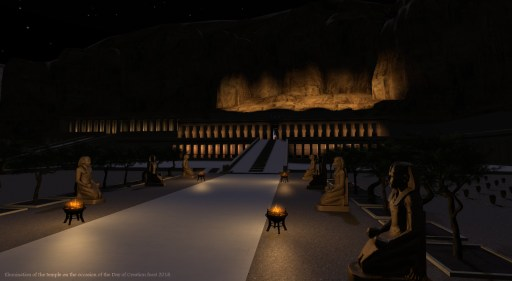 """illumination of the Hatshepsut temple at night for the """"Day of Creation feast 2018"""""""