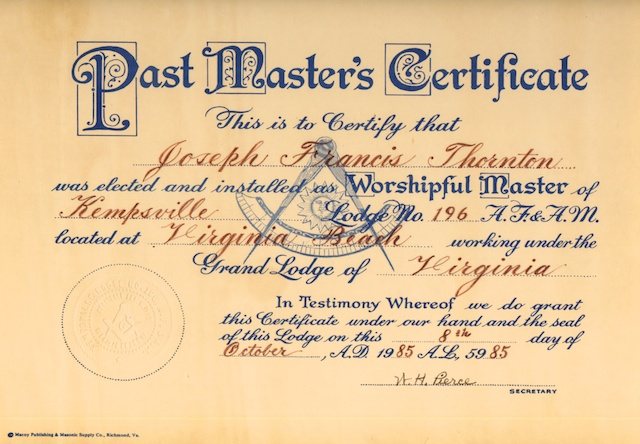 Past Masters Certificate and Wallet Card