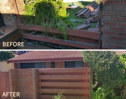 Before and after handyman services for wall brick
