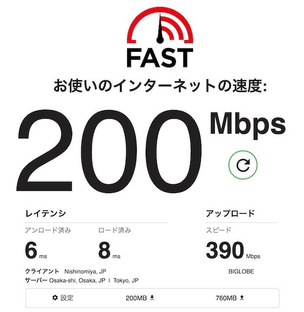 Wi-F5対応のMacBook Air Early 2020ではこの速度