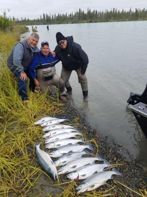 A great day of Alaska fishing with limits of Kenai River Sockeye Salmon