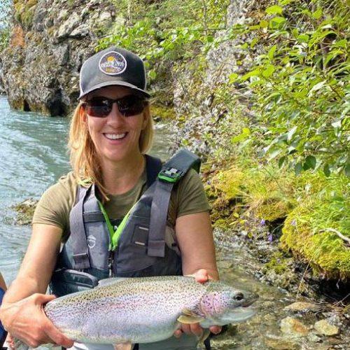 Alaska Trout Fishing - Kenai Riverside Resort customer holding a pretty Kenai River rainbow trout