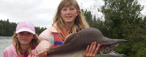 Two young ladies land a big pink buck while alaska pink salmon fishing