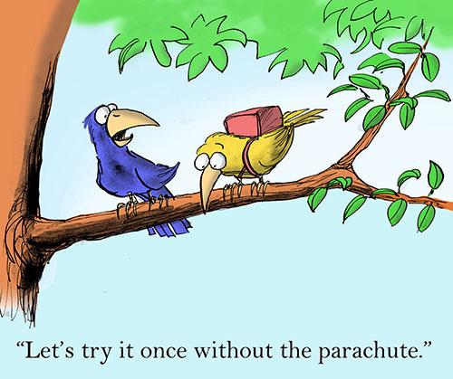 Worried bird with parachute