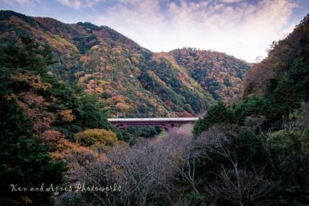 The Beautiful Arashiyama Mountains Under The Evening Sky (Mid Ground Structure Is the JR Hozukyo Station Platform)