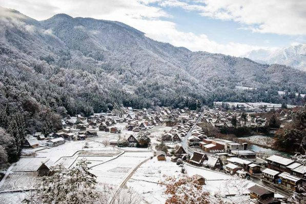 Ogimachi Is Absolutely Beautiful Snow Covered On A Clear Morning
