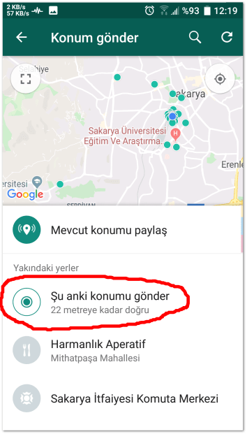 Send android location 3 Press the send current location button