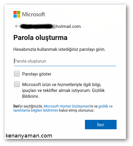Microsoft email password creation screen