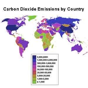 Carbon emissions by country data