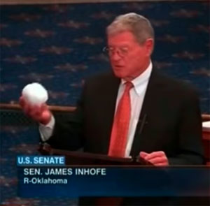 Senator Jim Inhofe throws snowball