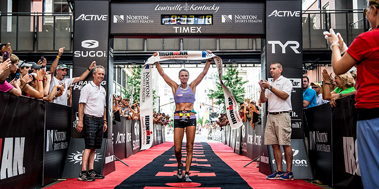Nina Kraft, 46,  crosses the finish line in Lousville to become the oldest IRONMAN winner in history. (PHOTO/IRONMAN)