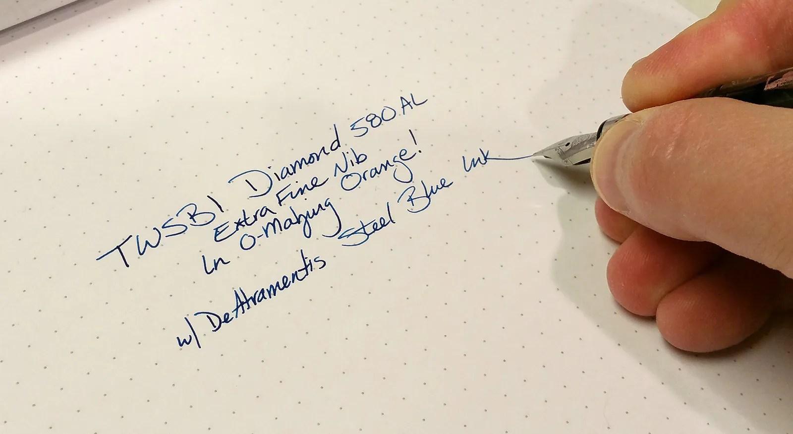 Writing Sample with the TWSBI Diamond 580AL Fountain Pen