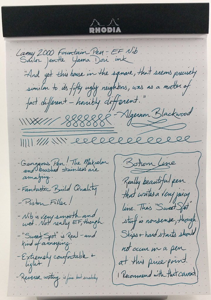Lamy 2000 Fountain Pen Writing Sample