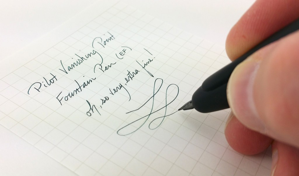 Pilot Vanishing Point Fountain Pen Writing Sample