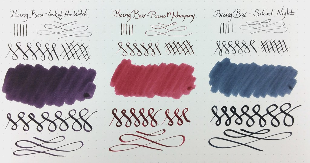 Quick Look: Bung Box Inks, showing swatches and writing samples with Ink of the Witch, Piano Mahogany, and Silent Night