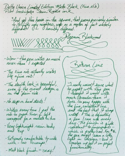 Click to enlarge: The full writing sample of the Delta Unica Fountain Pen, using Pilot Iroshizuku Shin Ryoku ink