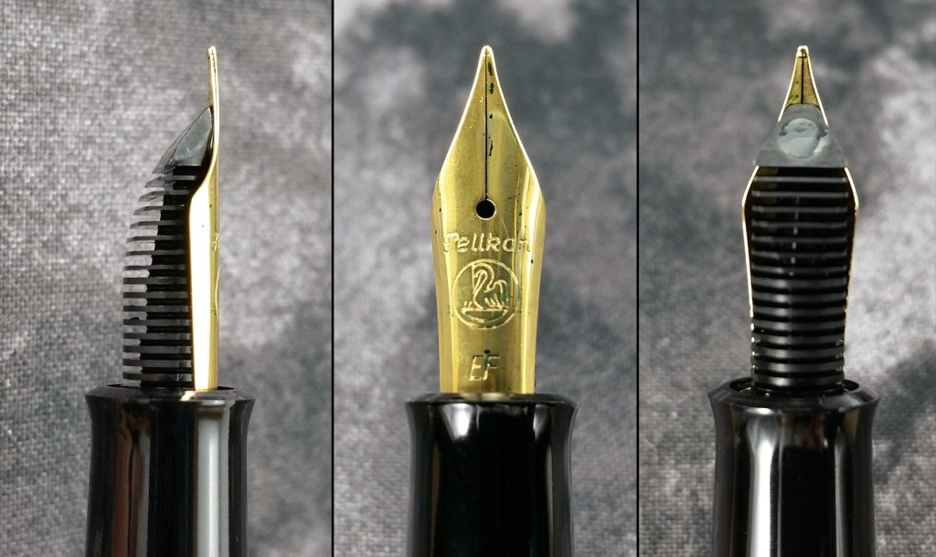 Three close-up views of the Pelikan Classic M200 fountain pen nib: side view showing the feed's fins, top view showing the face of the nib, and the underneath view