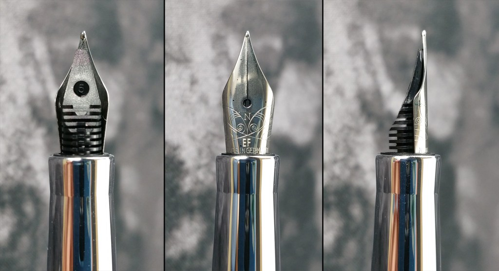 Three close-up views of the Nemosine Neutrino Fountain Pen EF nib, showing the underside with the feed, the top of the nib, and the nib and feed from the side