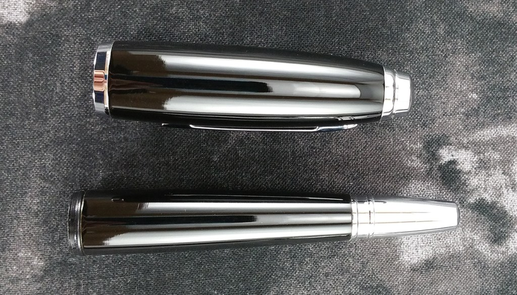 The Cross Dubai Fountain Pen cap and barrel side-by-side showing how much wider/thicker the cap is than the barrel, particularly the end cap