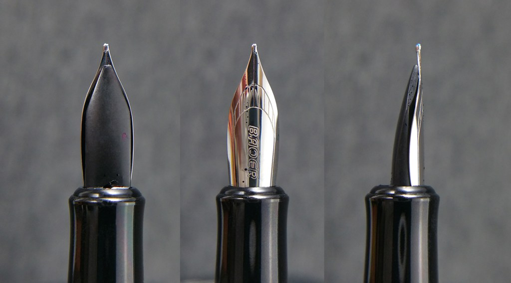 Three views of the Baoer 508 Fountain Pen Nib, the underside showing the finless feed, the top, and the side, which shows how sleek the nib is