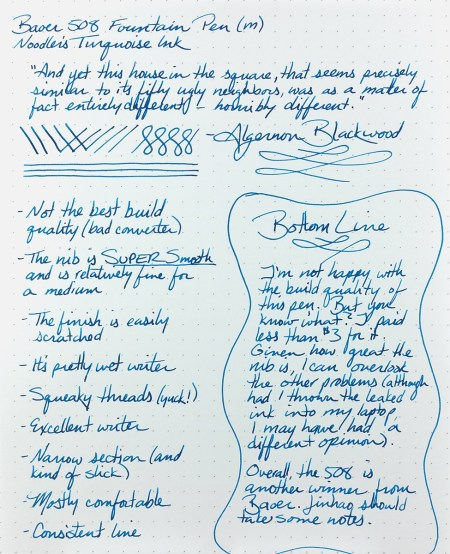 A writing sample from the Baoer 508 Fountain Pen on Rhodia #16 DotPad and using Noodler's Turquoise ink