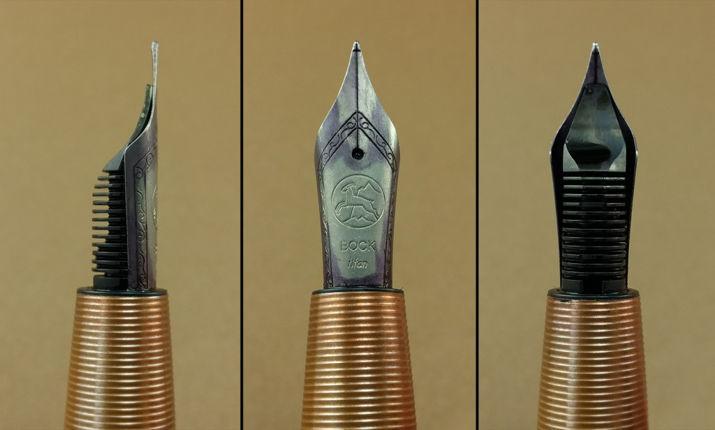 Three close-up views of the Tactile Turn Gist Fountain Pen Nib: side view with the feed, top of the nib showing the design, and an underside view showing the feed