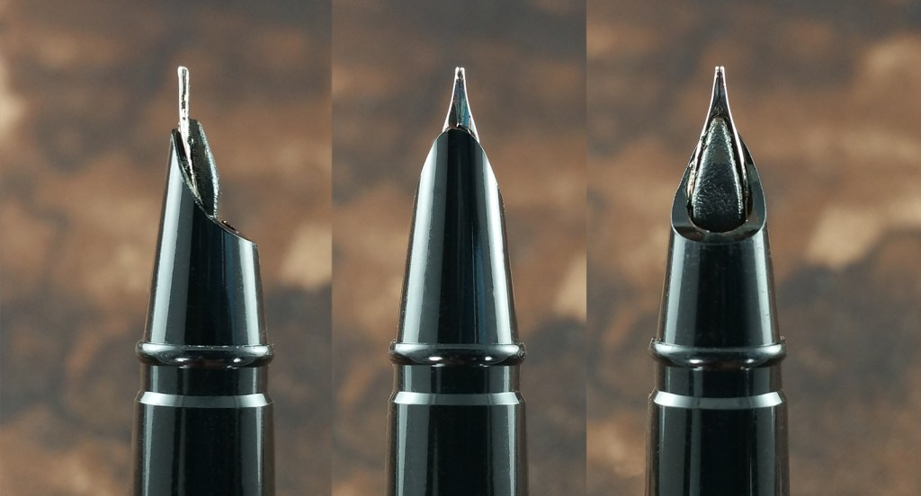 Three views of the Jinhao 3005 Fountain Pen Nib - Side view, top view, and underneath view